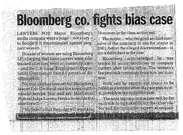 March 26, 2010, Bloomberg Co. Fights Bias Case